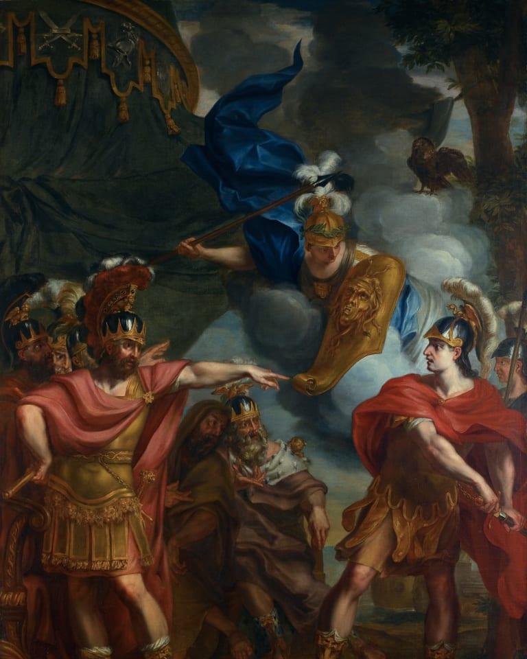 「アキレスとアガメムノンの口論」エラルート・デ・ライレッセ (1640-1711)、ベルギー、油絵・キャンバス、H 3000mm x W 2140mm「アキレスとアガメムノンの口論」エラルート・デ・ライレッセ (1640-1711)、ベルギー、油絵・キャンバス、H 3000mm x W 2140mm
