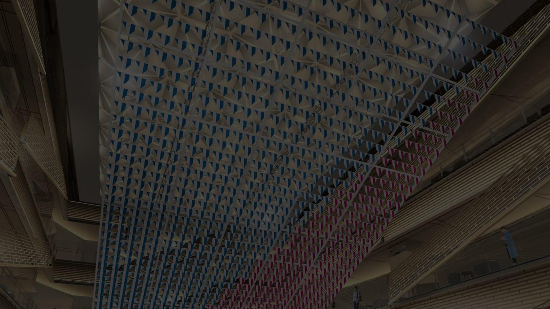 « Like a flock of starlings: work in situ » Daniel Buren 2018 © ADAGP, Paris & JASPAR, Tokyo, 2018 G1226« Like a flock of starlings: work in situ » Daniel Buren 2018 © ADAGP, Paris & JASPAR, Tokyo, 2018 G1226
