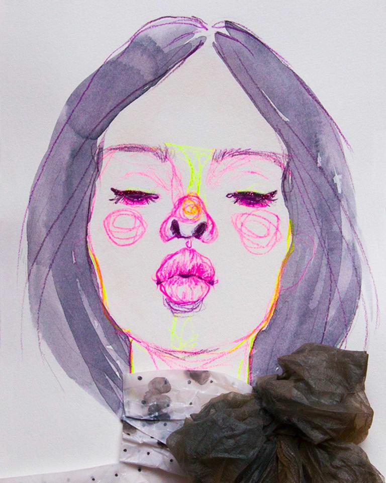 Jody Asano, Kiss ME, dress by Giambattista Valli, 2017, 258x358mm, mixed media, 20万円Jody Asano, Kiss ME, dress by Giambattista Valli, 2017, 258x358mm, mixed media, 20万円