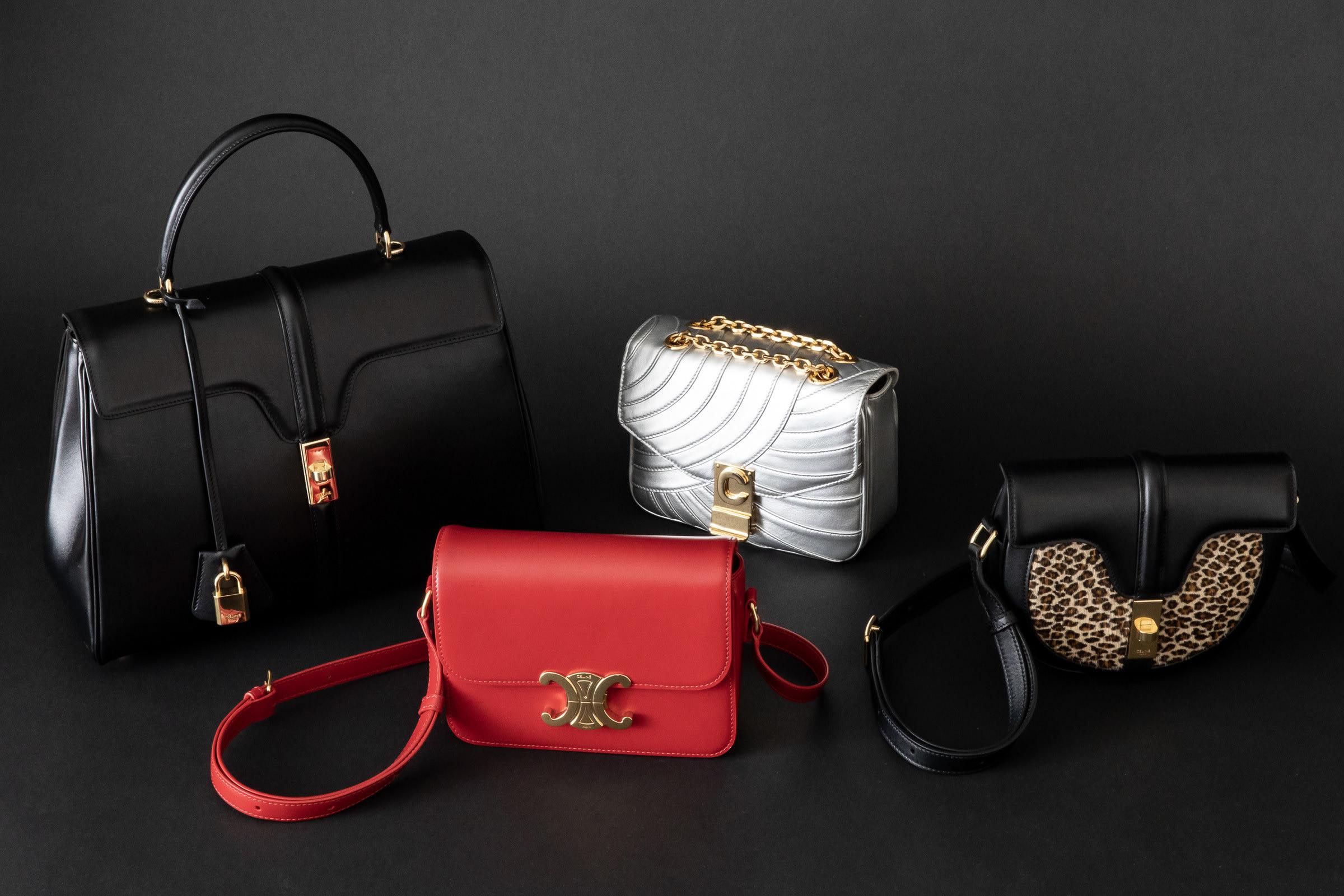 fb5cfb72084c 新時代のセリーヌを印象付けるのは『16<セーズ>』『TRIOMPHE<トリオンフ>』『C<セー>』のアイコニックなバッグの数々。エディのシグニチャーカラー